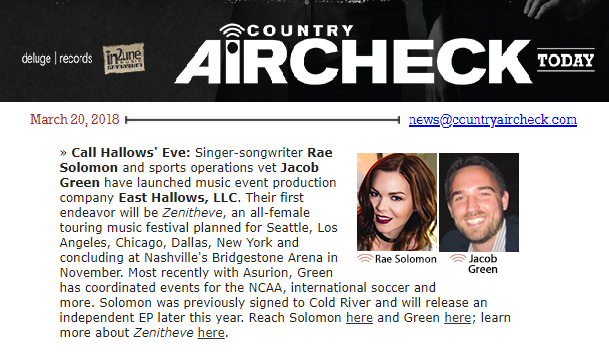 Country Aircheck: Solomon, Green Launch Event Company -