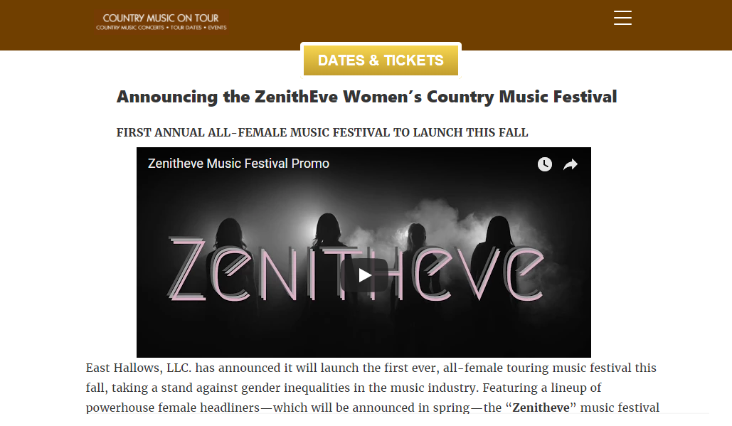 Country Music On Tour: Announcing the ZenithEve Women's Country Music Festival -