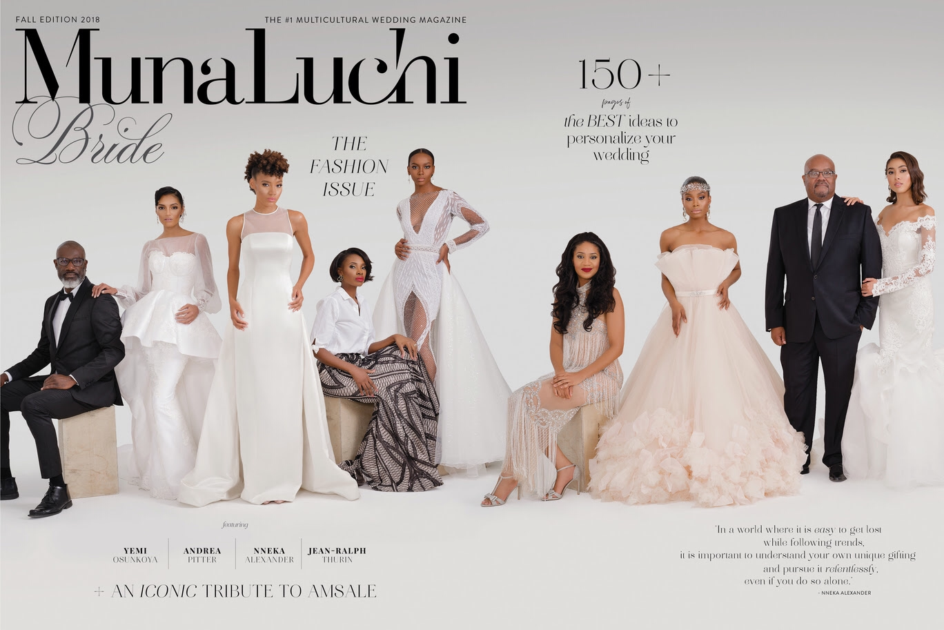 Wedding Dress Designers and their models for the cover of MunaLuchi Bride Magazine