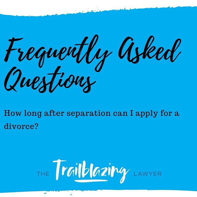 You can apply for a divorce after you have been separated for 12 months.  #familylawyer #faq #thetrailblazinglawyer #brisbanefamilylawyer #divorcelawyer