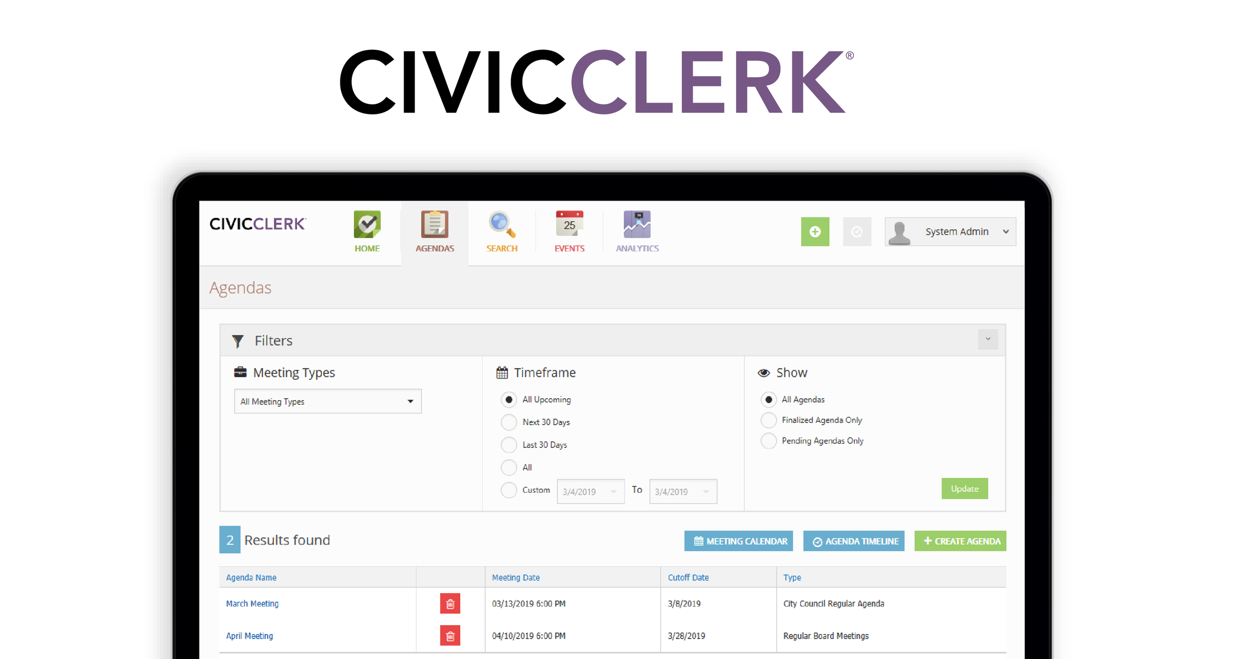 CivicClerk Agenda and Meeting Management software for local government
