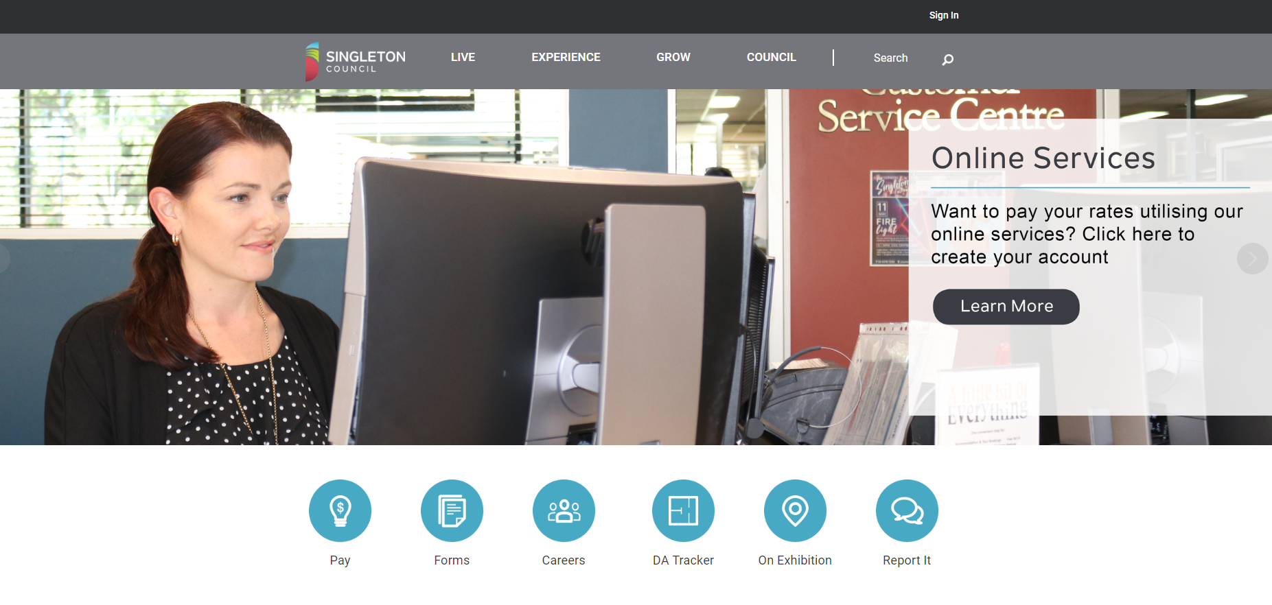Singleton Council Home page.PNG