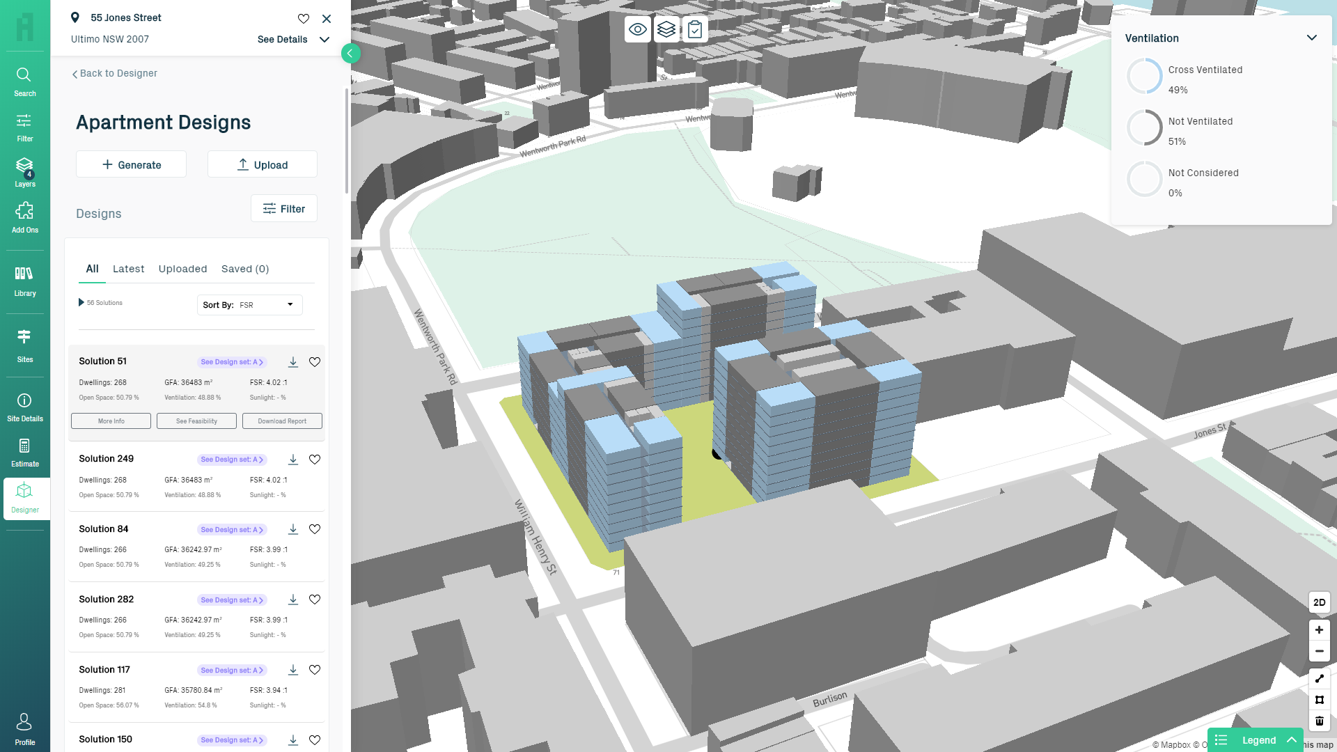 Screenshot of Archistar 3D image depicting ventilation assessment.