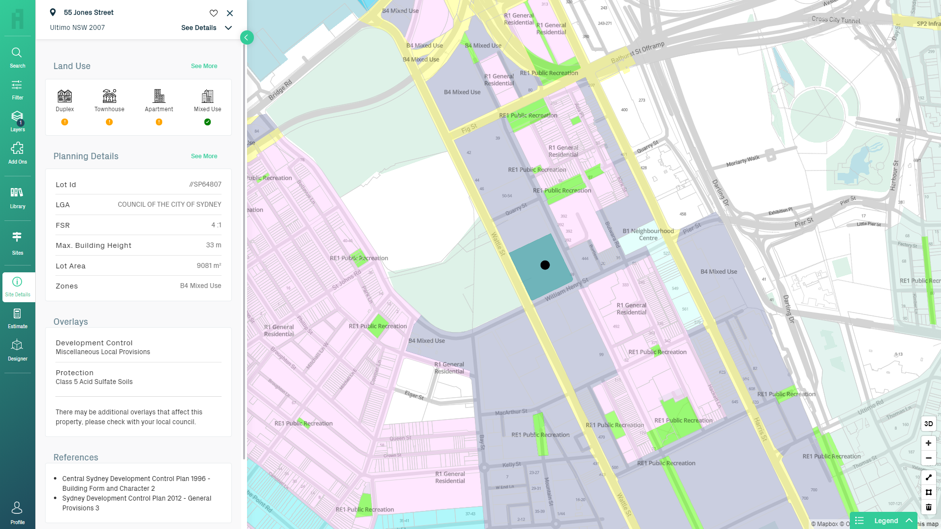 Screenshot that shows how Archistar depicts different zoning details in specific areas