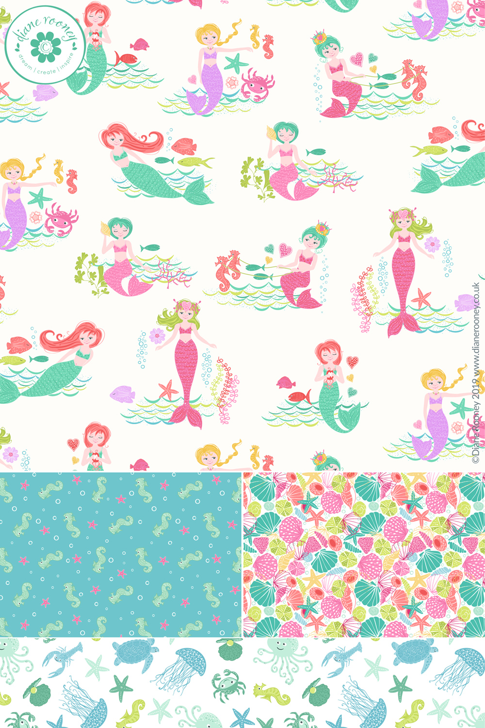 Diane Rooney Merryn Mermaid Fabric Collection with Makower UK