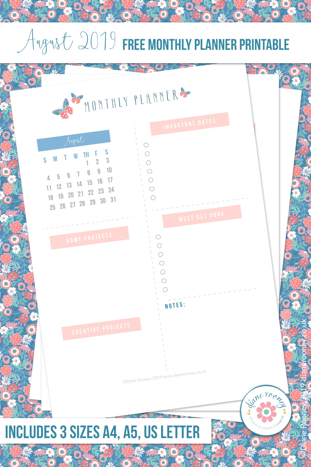 Diane Rooney August 2019 Free Monthly To Do Printable