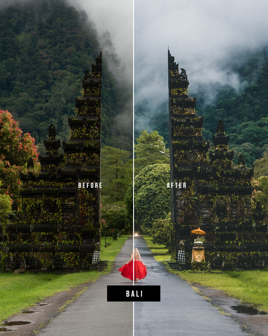 Before and after photo edited with my Bali preset from my Travel Preset Pack (click on the image to get to the preset).