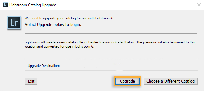 Upgrade your Lightroom Catalog to the newest Version