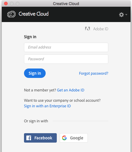 Sign in window to creative cloud application
