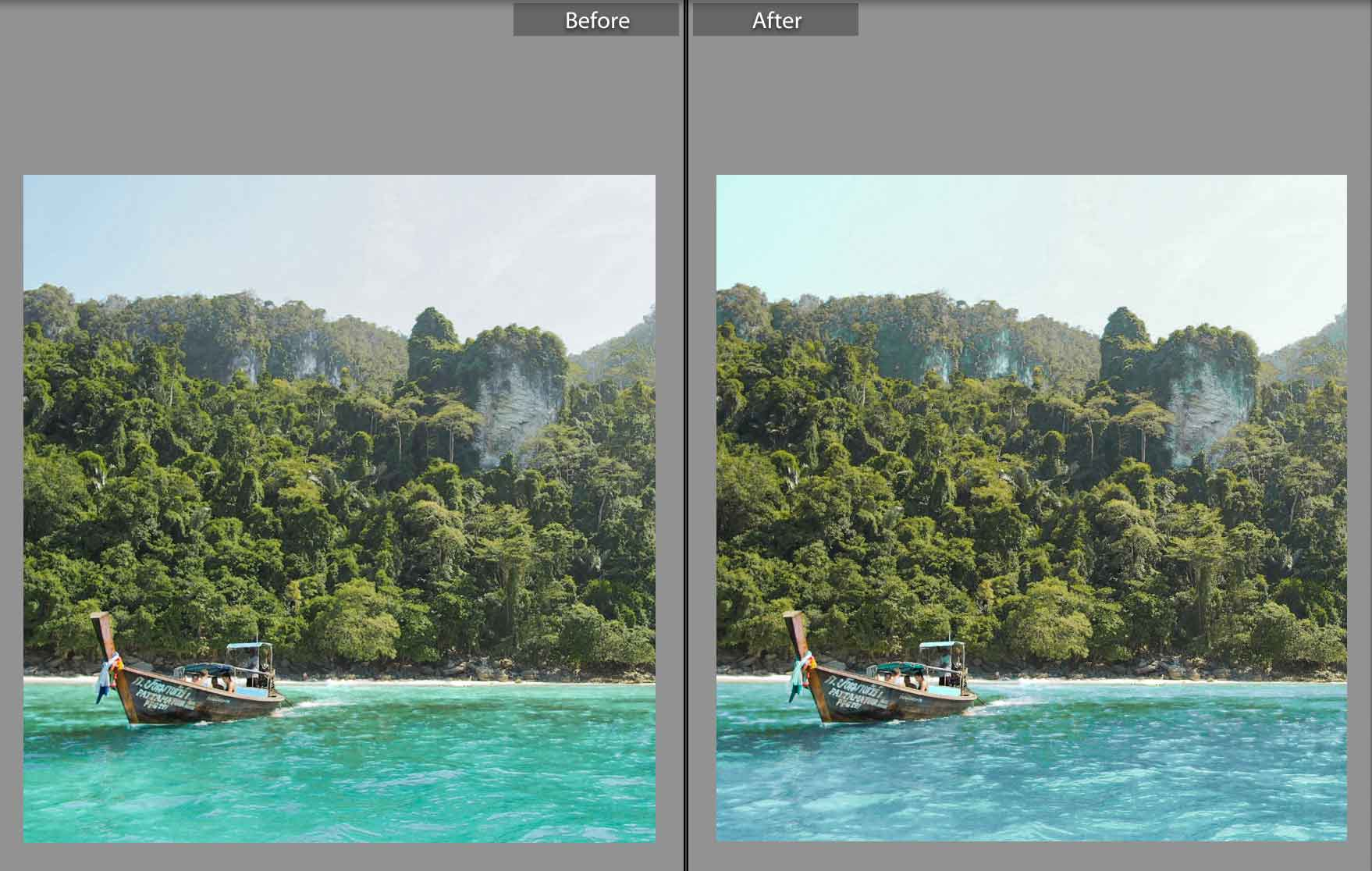 Edit Water Color from Green to Blue on Adobe Lightroom without Presets