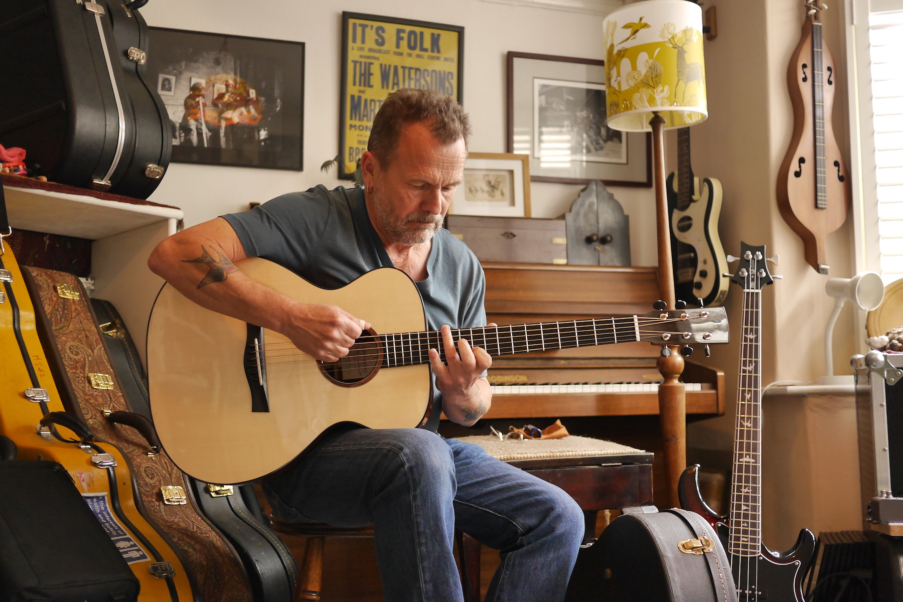 Martin Playing a Cocobolo Tirga Beag in his home studio in Sheffield
