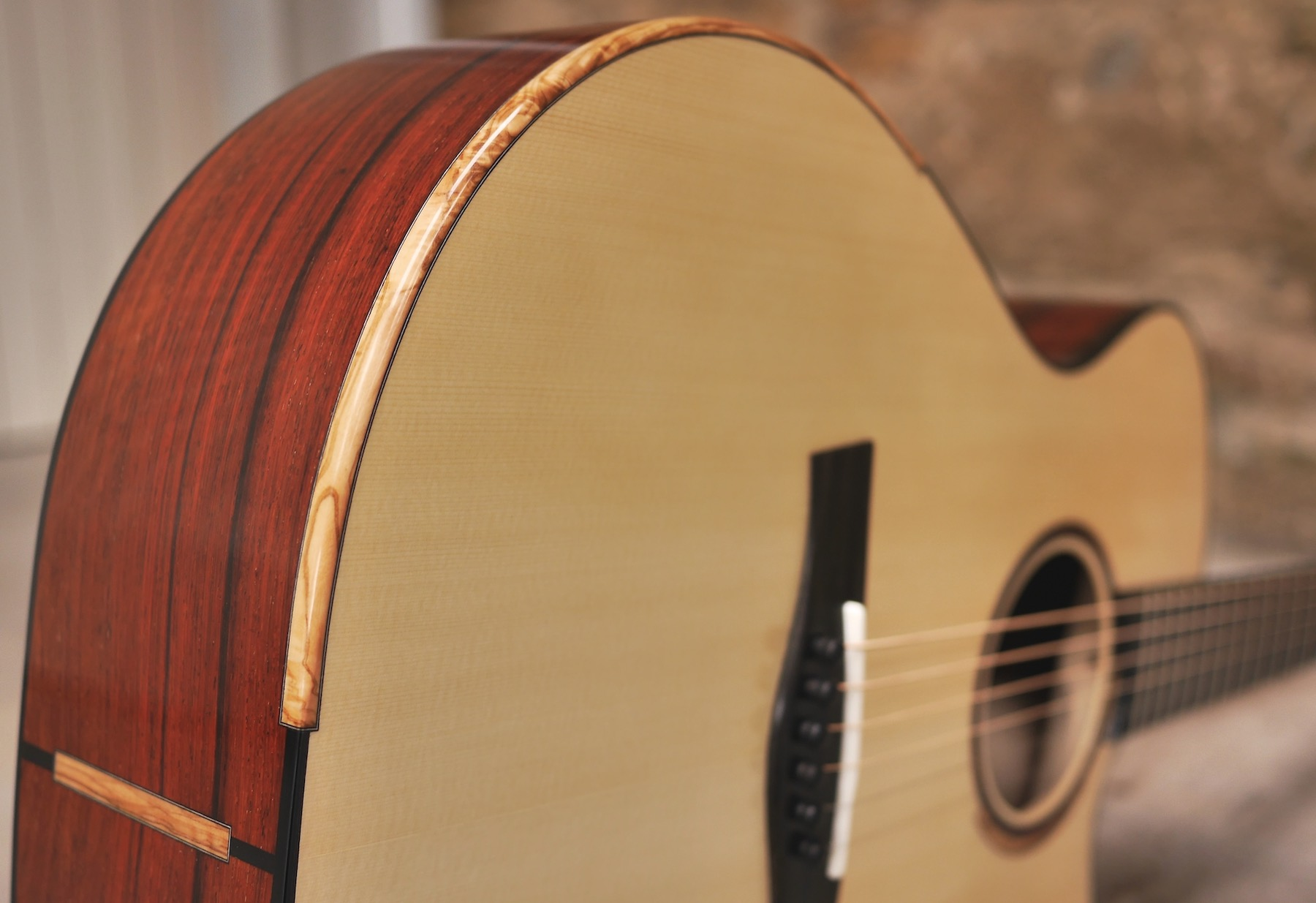 Olive Wood Micro Bevel on Rod's Taran