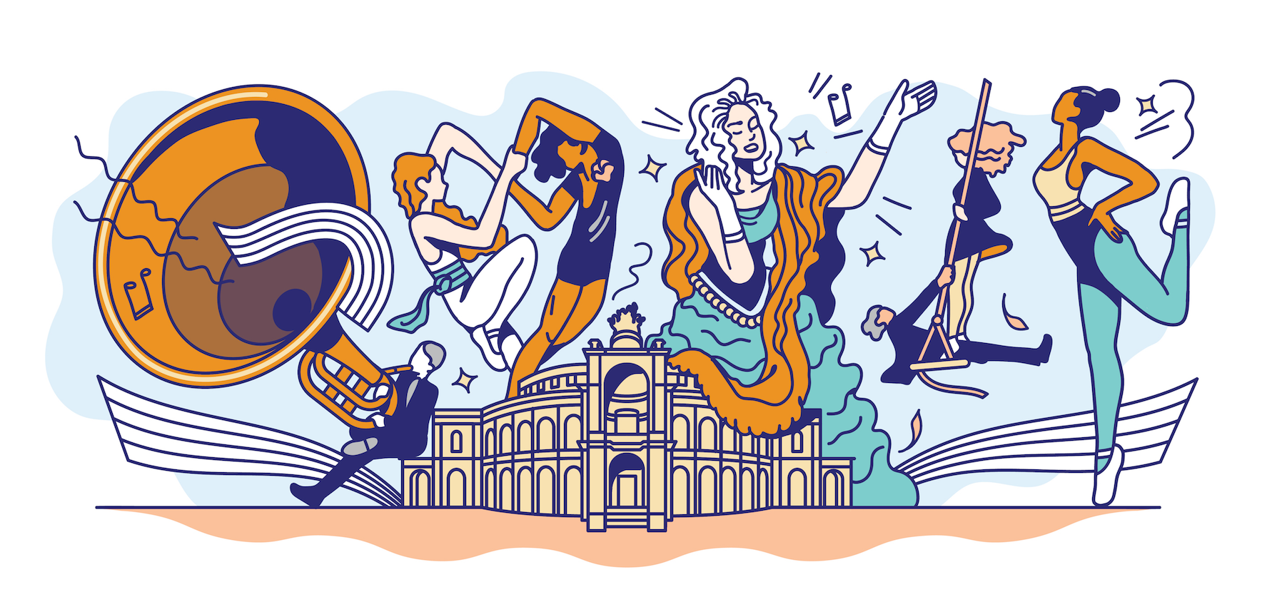 Google Doodle celebrating the 177th anniversary of the Semper opera in Dresden