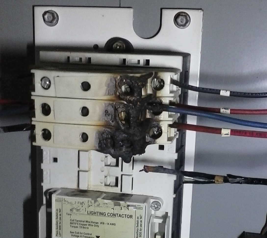 Melted Lighting Contactor