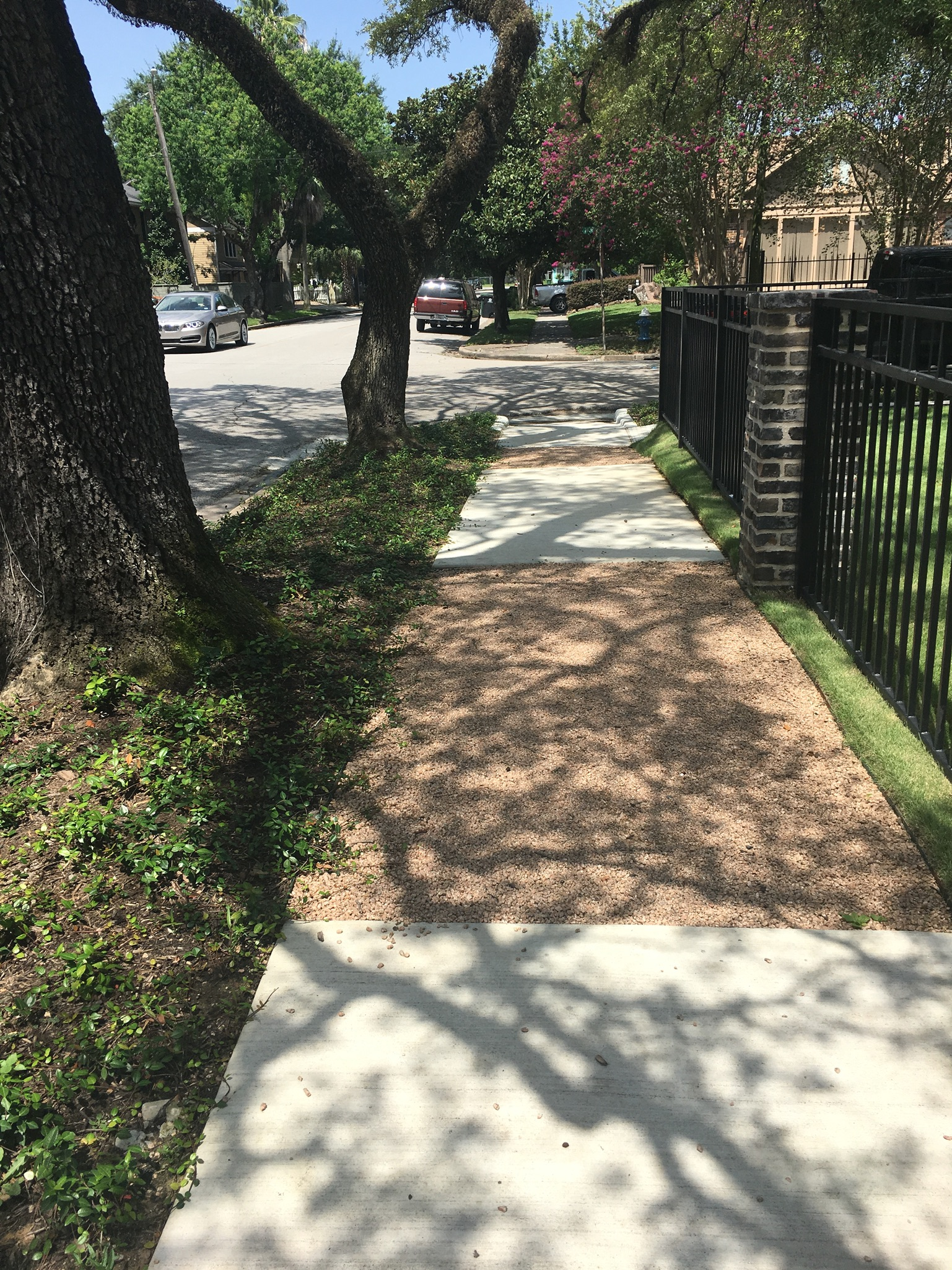 The Heights is an excellent example of how important it is to change to permeable and adjustable walk ways over tree roots.
