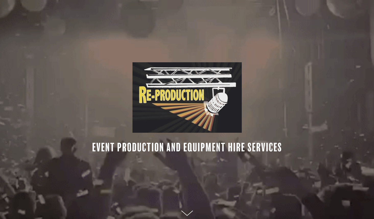 rE-pRODUCTION.cO.uK - One Page Website for Event Production and Equipment Hire Services with Video Background