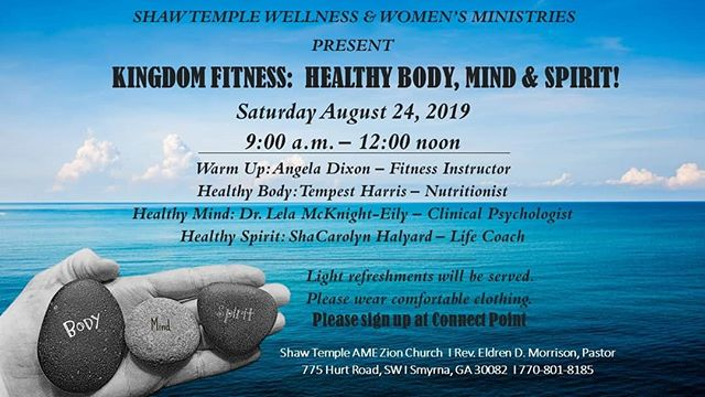 Excited to be sharing with the women of Shaw Temple AME Zion Church on the importance of having a healthy spirit. Feeling out out of shape spiritually?!?! Come chat with me about guarding our hearts with prayer, strengthening our resolve with the word, and avoiding ungodly cycles!