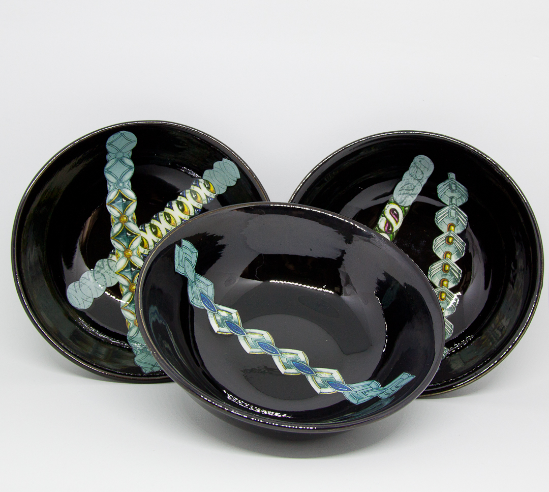 BRACCIALETTI | BRACELETS  on rare black vintage ceramic bowls, Richard, Italy