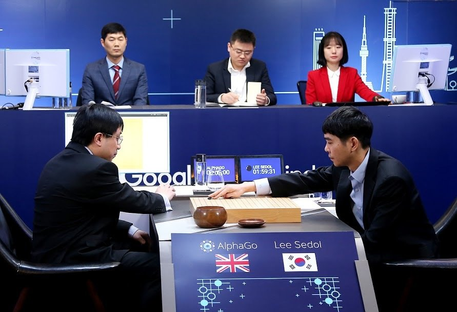 Lee Sedol plays game three in his match against Google's AlphaGo artificial intelligence program