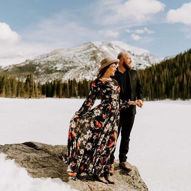 Alicia is slaying the mountain style game for her engagement photos, wearing the @yumikim True Love maxi dress (we have just 2 Mediums left of this amazzzzing dress!) . Photo @lindycopeland