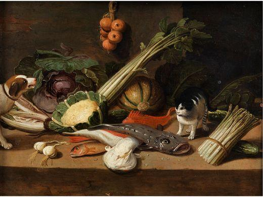 Pseudo-Jan van Kessel the Younger,  Still life with fish, vegetables, a cat and a dog