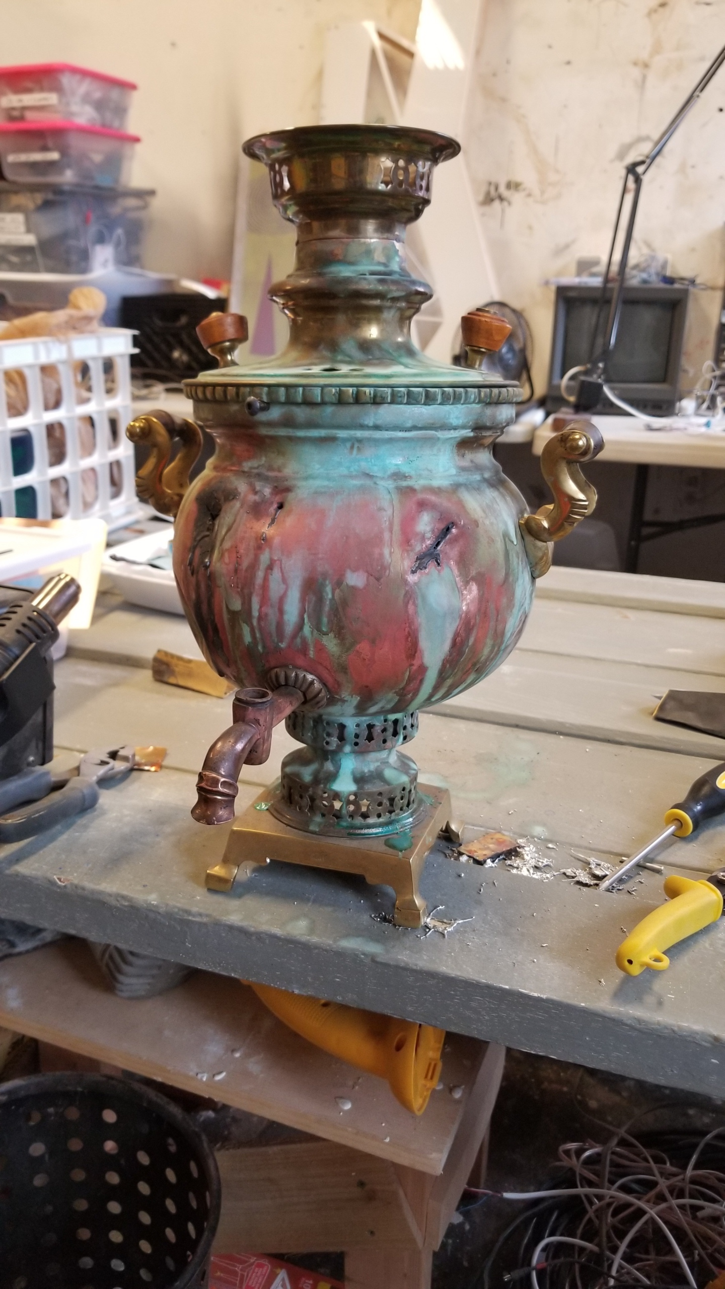 Front of samovar after distressing.