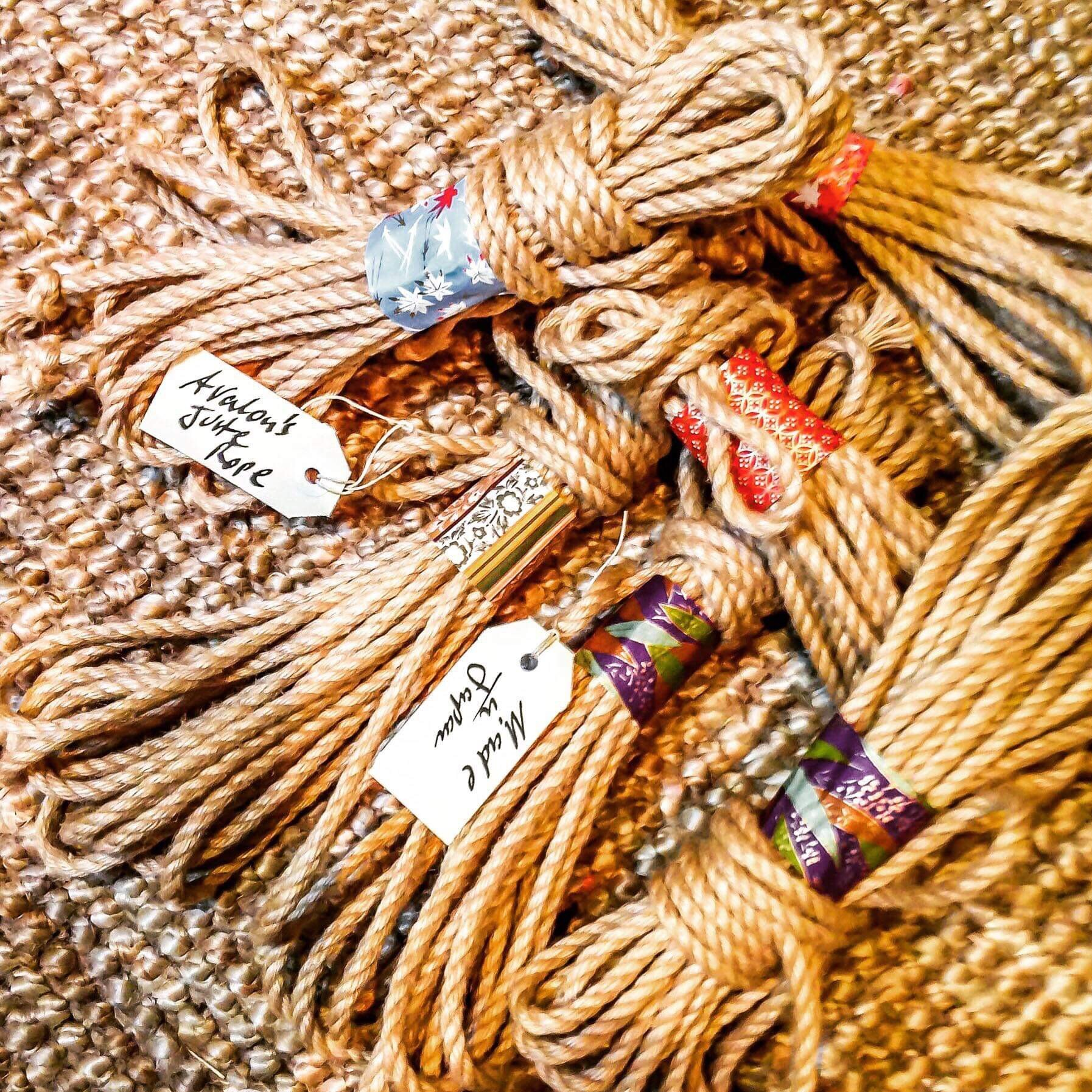 Avalon's Rope Dojo - Melbourne, Australia6 mm, Camilla-oil, bees-wax mix treated, natural and colored, Asanawa jute ropeOrder by sending a message via their Facebook page.
