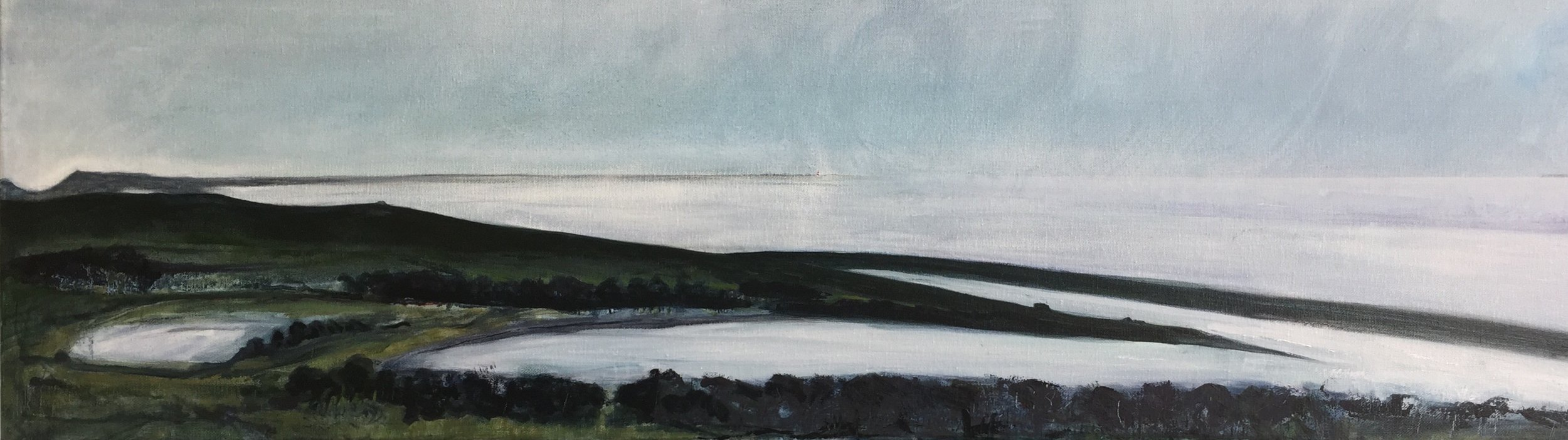 Towards Portland Bill 2019 Oils 100 x 30cm
