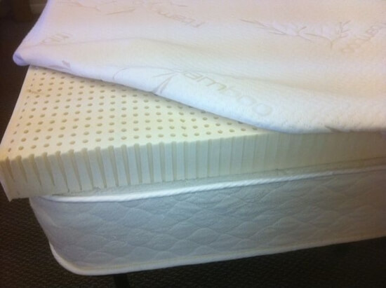 "A latex topper, whether natural latex or blended, brings a ""dead"" mattress back to life, with it's springy, levitating feel. Excellent for proper spine alignment, back sleepers, sidesleepers, and flip-floppers."