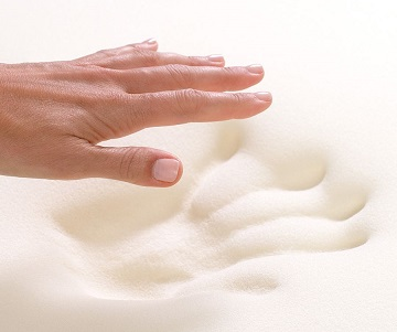 The ubiquitous memory foam handprint shot, which accurately portrays that melt-in sensation the only visco-elastic foam can provide.