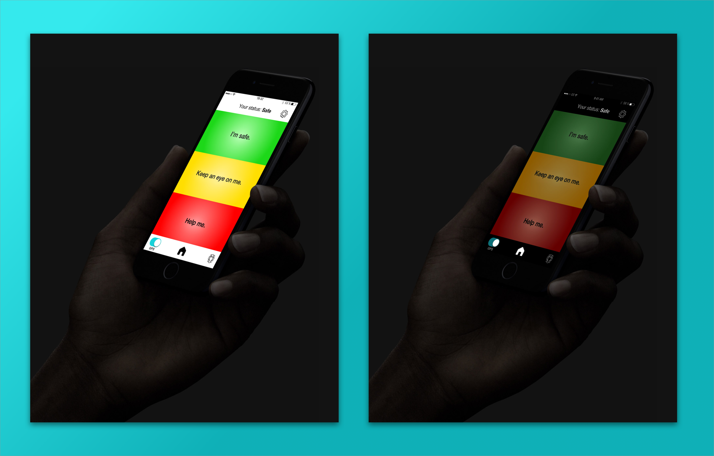 When calling for help, users will likely be using their phone at night, and being discreet is a requirement. Because the mockup uses bold colors, a dark interface is necessary to maintain secrecy. A bright interface would be far too bold and would not fulfill the user's need to be discreet.