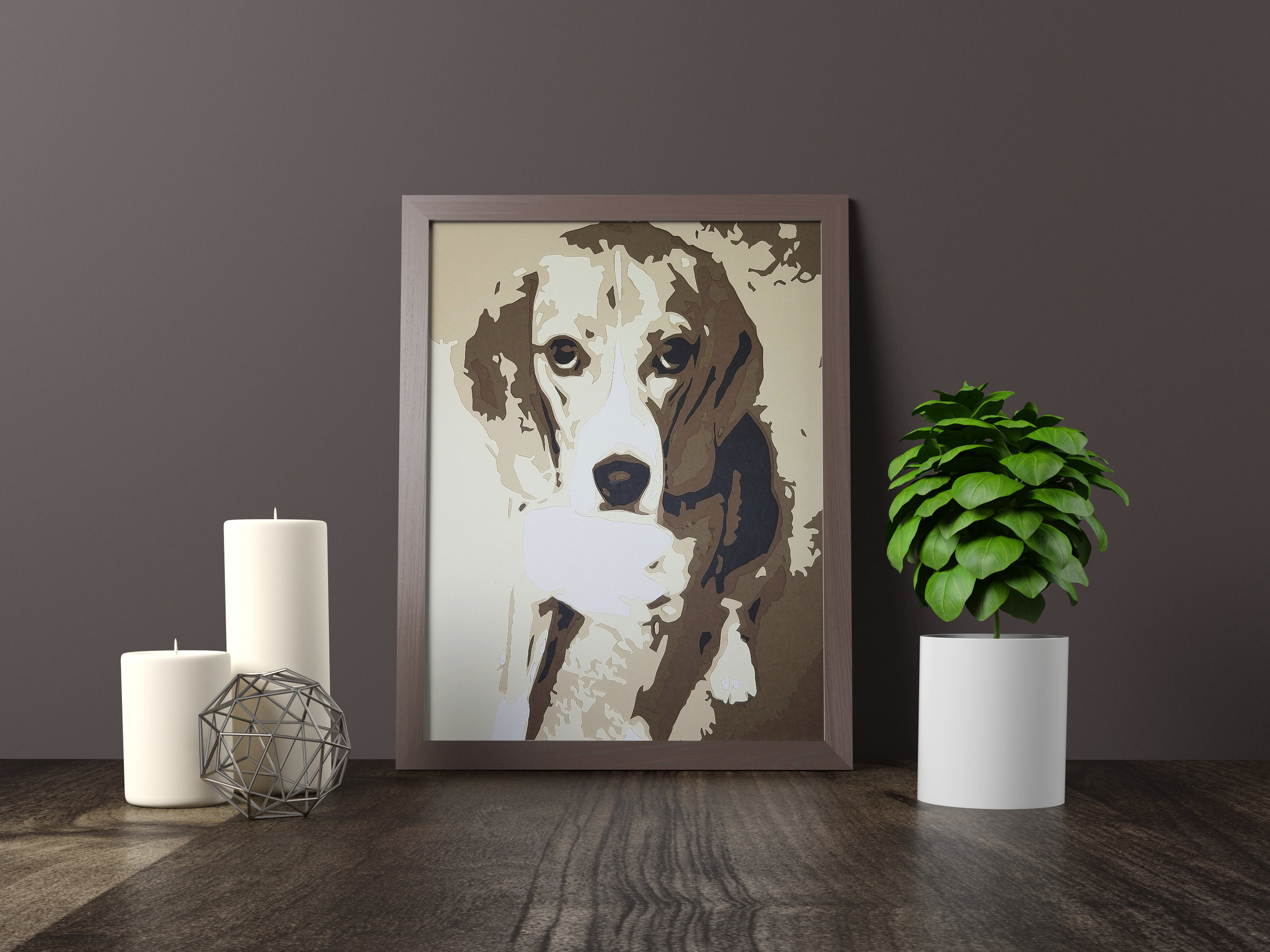"""Charlie - ABSTRACT BEAGLE - Original Artwork *SOLD* 11"""" x 14""""Hand carved layered paperPet portraits available to commissionFine art giclée prints available for purchaseCanvas and Mounts available for purchaseHome Decor and Gifts coming soon"""