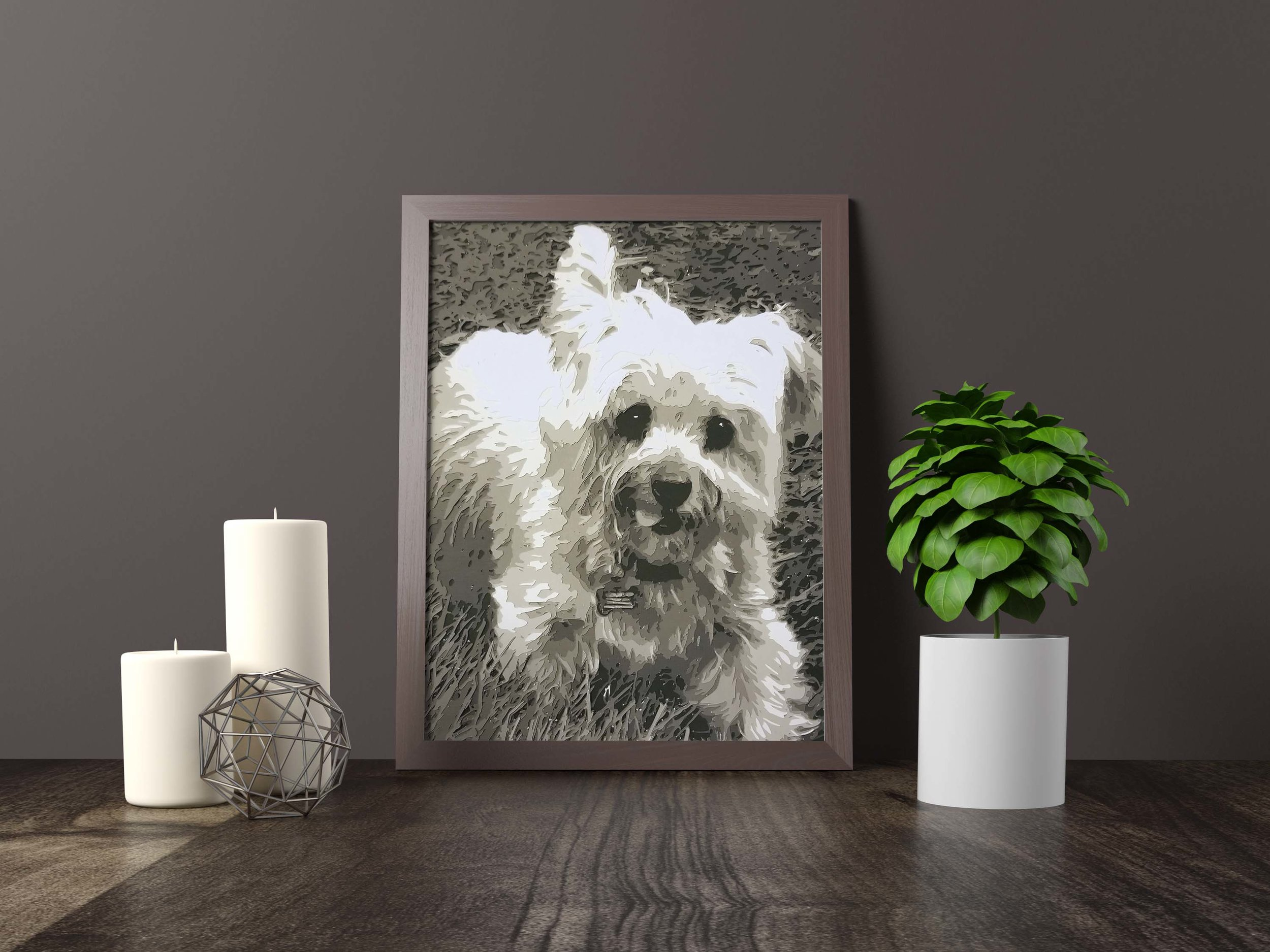 """bailey - Yorkshire terrier - Private Commission *SOLD* 11"""" x 14""""Hand carved layered paperPet portraits available to commissionFine art giclée prints available for purchaseCanvas and Mounts available for purchaseHome Decor and Gifts coming soon"""
