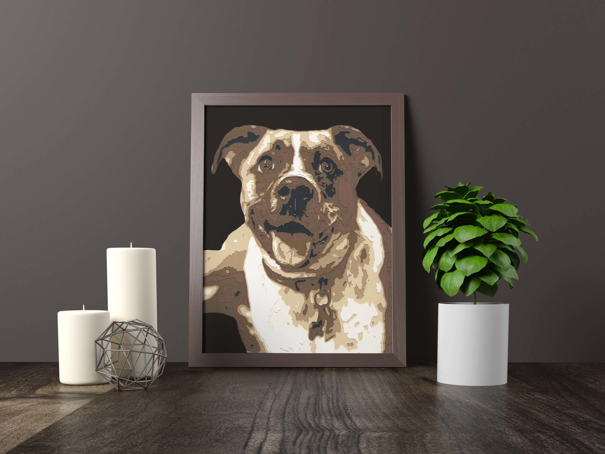 """boxer / pit bull mix - Private Commission *SOLD* 11"""" x 14""""Hand carved layered paperPet portraits available to commissionFine art giclée prints available for purchaseCanvas and Mounts available for purchaseHome Decor and Gifts coming soon"""