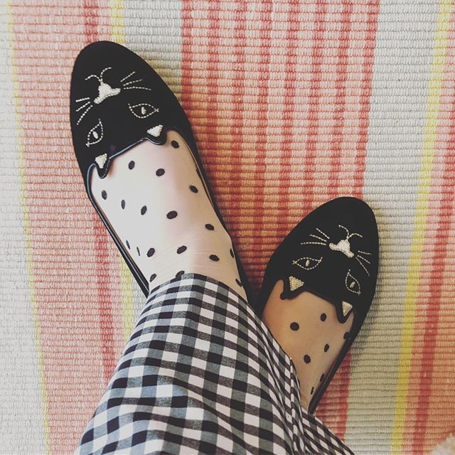 Happy First Day of 🌷SPRING🌷! This calls for check, polka dots, and pussy cat flats! We're sending the snow off in style over here❣️ #thesoulofstyle #charlotteolympia #springtime🌸 #patternlover