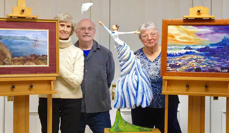 Sharon Michaelsen of Rutabaga Art, Dave Smith of Smith Studio and Gallery, and Joyce Mattan of Rutabaga Art.