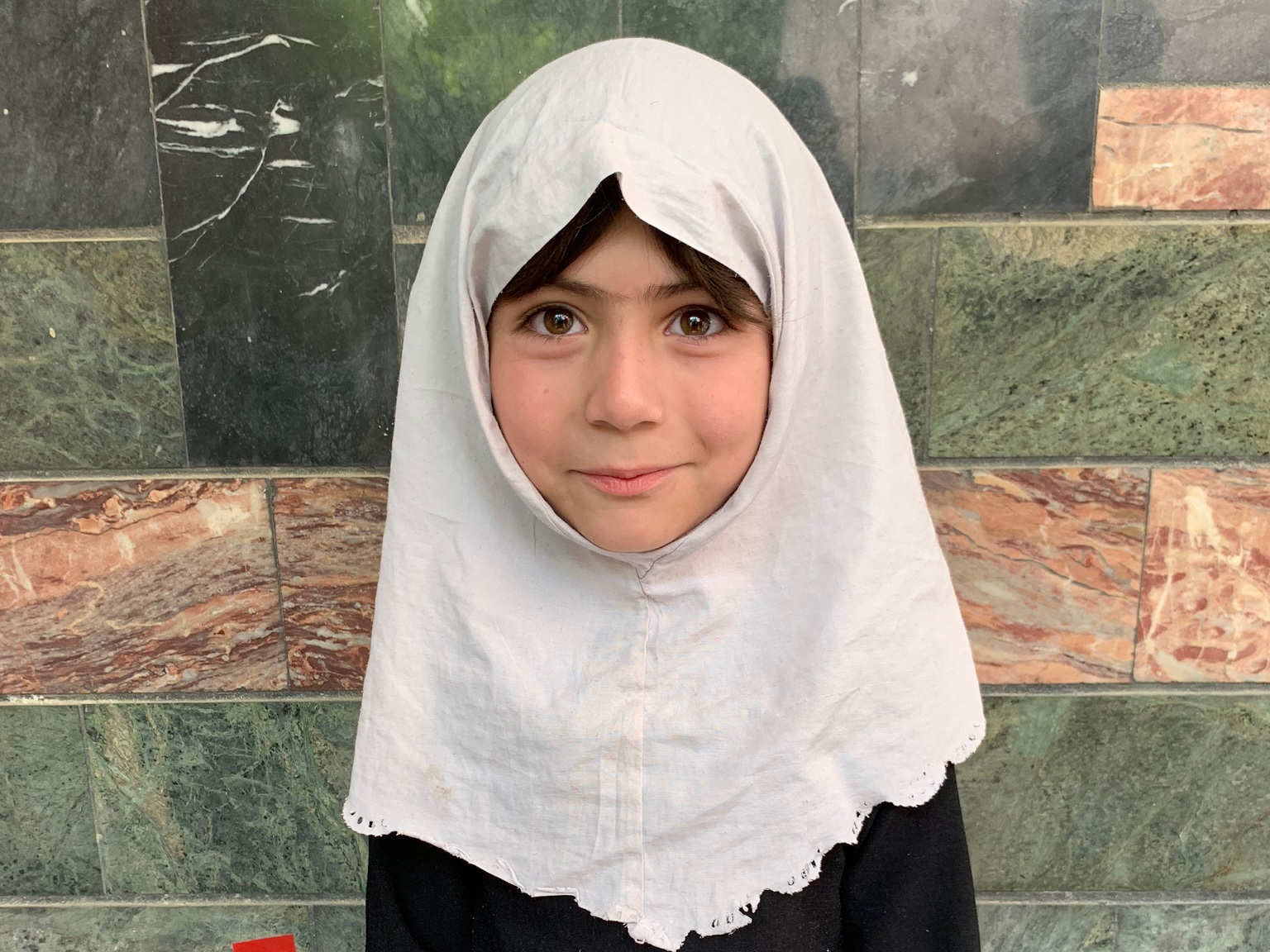 Fatima F., Age 9 - Fatima has siblings. Her mother does not have work at this time and her father is a traffic policeman.BE FATIMA F'S PARTNER>∆