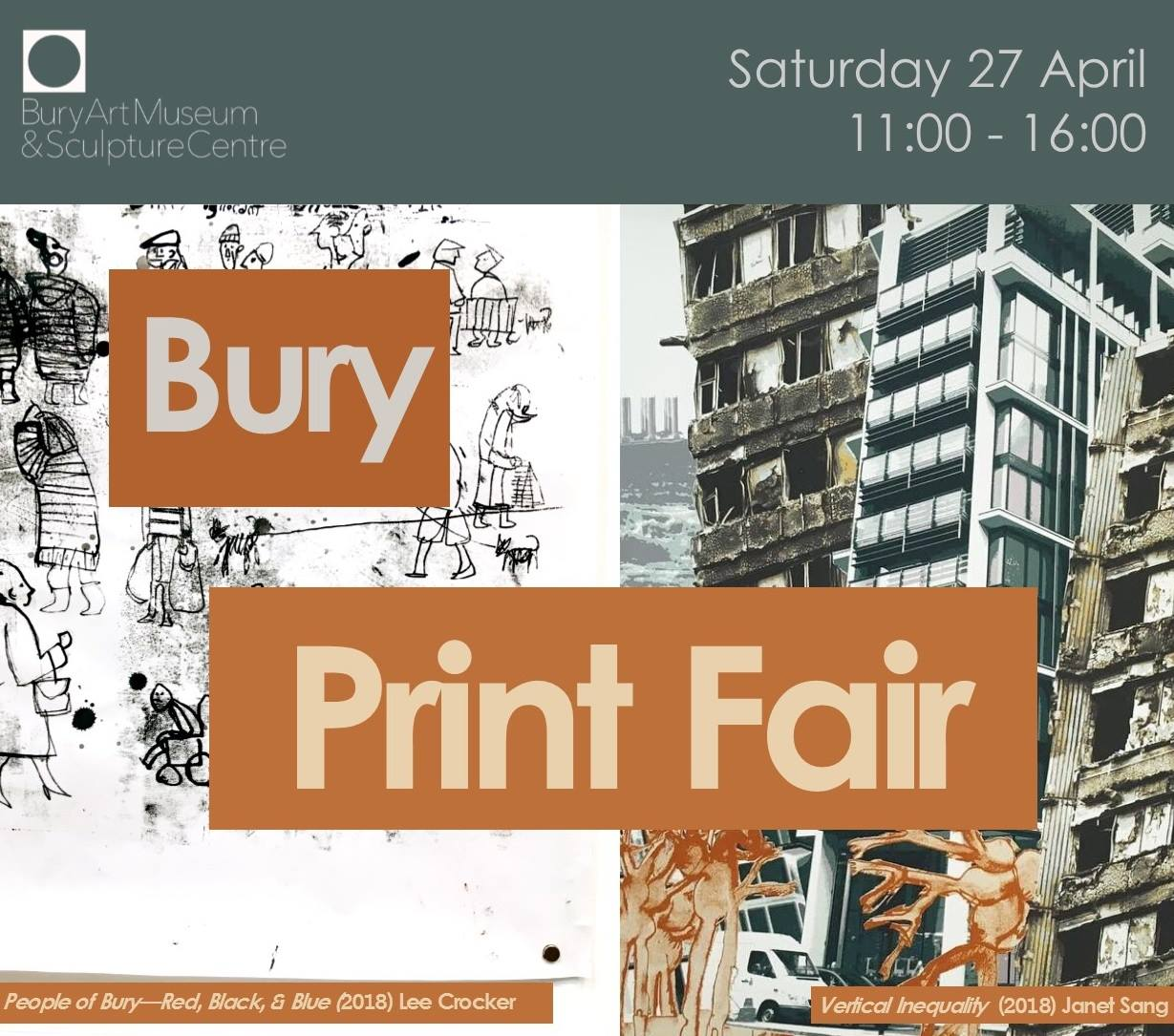 Bury Print Fair 2019 - part of the exhibition, 'Print - A Catalyst for Social Change' at Bury Art Museum & Sculpture Centre.