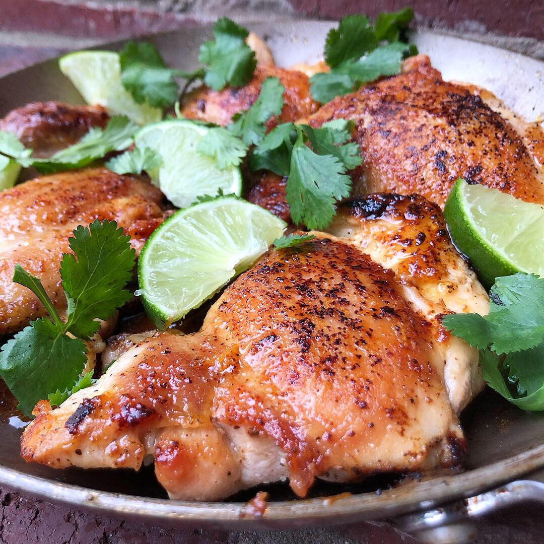 Pan Fried Honey Lime Chicken Thighs
