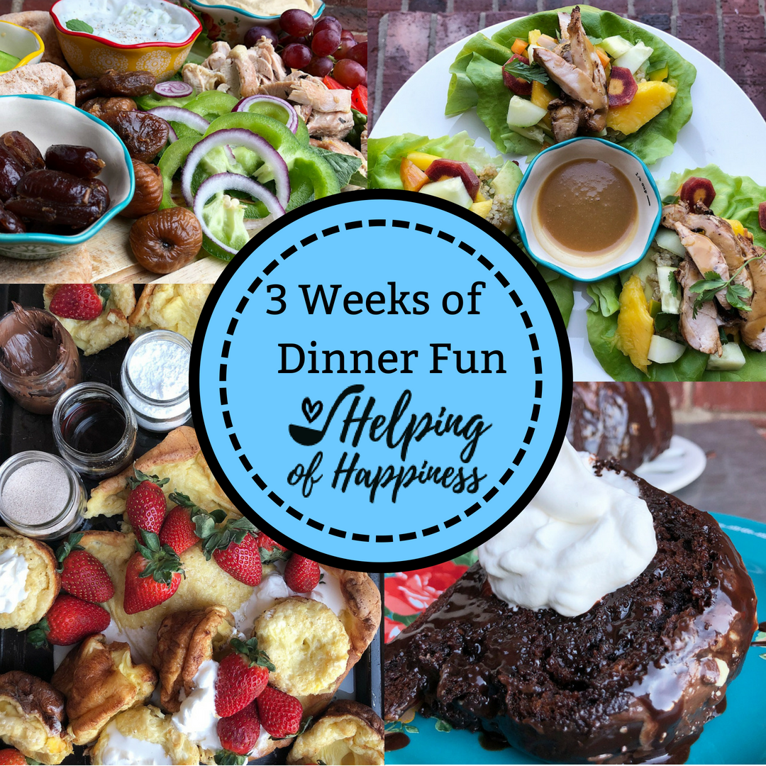 Click  here for our 3 Weeks of Dinner fun ! Includes recipes and conversation starters to bring the family together.