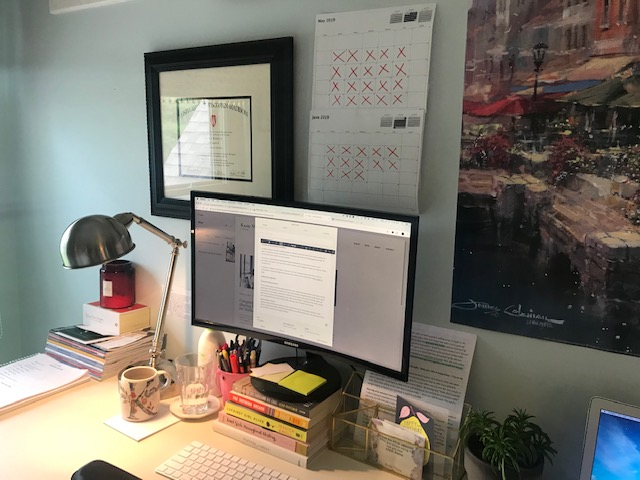 Here's a snapshot of my desk as I worked on publishing this blog…