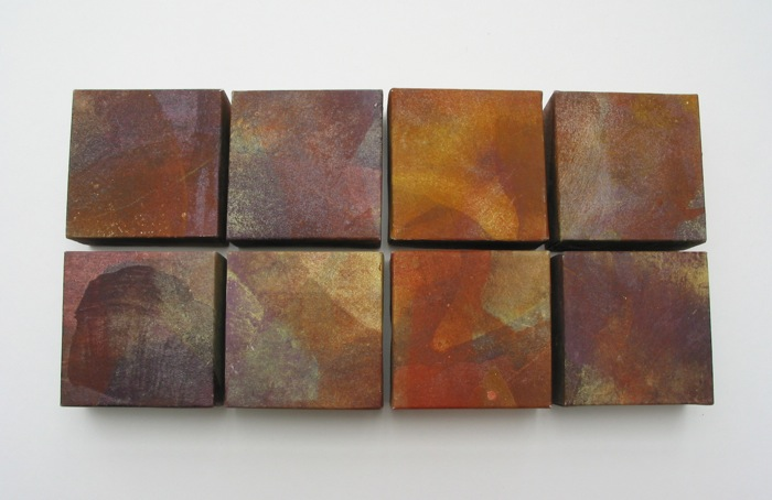 cubes   mineral pigment, lacquer, Japanese paper, wood panel   8 x 8   2002