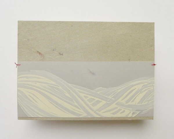 note    lacquer,drafting film, Japanese paper, thread   10 x 15   2017