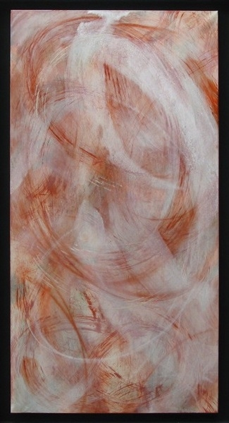 firebird   mineral and seashell pigment, nikawa , colour pencil,Japanese paper on wood panel   2003