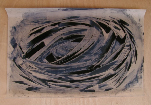 flow - nest   oil on silicon sheet, wood board   40 x 50  2018