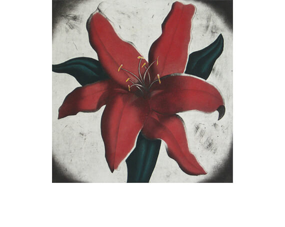 RED LILY, aquatint/etching, 17.5 x 17.5""