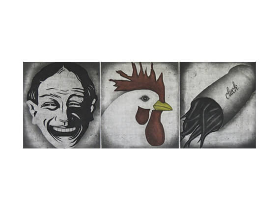 CLUCK, aquatint/etching, 7 x 18""