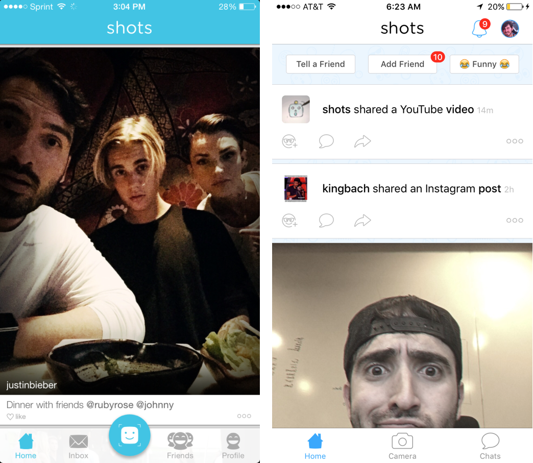 Shots has evolved from a selfie app (left) to also embrace comedy (right)