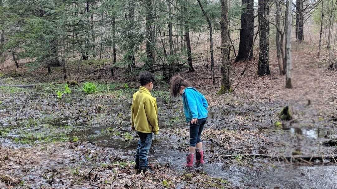 Kids in the mud. Because it's mud. And they're kids.   This is also why I need a mudroom.