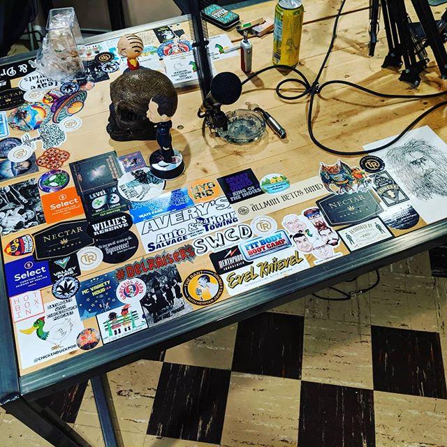 Our podcast table is cooler than yours.  #stickers #podcasts #podlife #podernfamily #behringer #frankiemcdonald #skull #nophonypodcastnetwork #williesreserve #cannabiscommunity #medicalmarijuana #evelknievel #hybrid #vape #vapenation